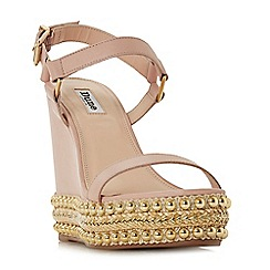 Dune - Light pink leather 'Kibble' high wedge heel ankle strap sandals