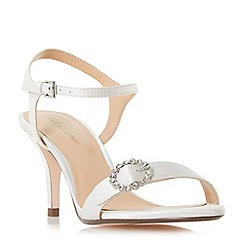 Roland Cartier - Ivory satin 'Mella' stiletto heel ankle strap sandals