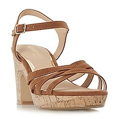 Head Over Heels by Dune - Tan 'Jaclyn' mid platform ankle strap sandals
