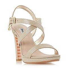Dune - Gold 'Misstee' high stiletto heel ankle strap sandals