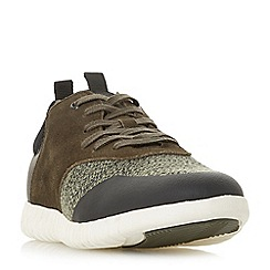 Dune - Khaki 'Turan' textured lace up trainers