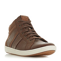 Dune - Brown 'Suarez' polyurethane hi top trainers