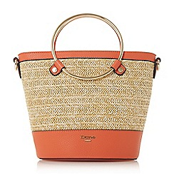 Dune - Orange 'Dircle' circle handle shopper bag