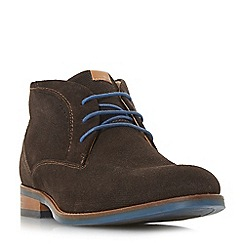 Dune - Brown 'Carmelo' perforated suede chukka boots