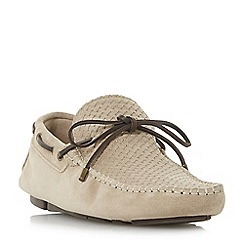 Dune - Natural 'Boyde' woven embossed driver shoes