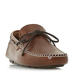 Dune - Tan 'Boyde' woven embossed driver shoes