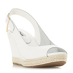 Dune - White leather 'Klicks' slingback sandals