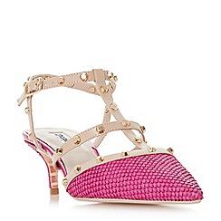 Dune - Pink leather 'Casterly' mid kitten heel peep toe sandals