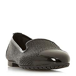 Dune - Black leather 'Wf genevene' wide fit loafers