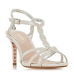 Dune - Silver 'Wf mystick' mid stiletto heel wide fit ankle strap sandals