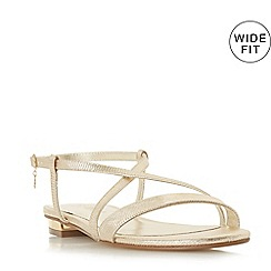 Dune - Gold 'Wf nenna' wide fit ankle strap sandals