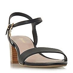 Dune - Black leather 'Wf jiggle' mid block heel wide fit ankle strap sandals