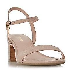 Dune - Natural leather 'Wf jiggle' mid block heel wide fit ankle strap sandal