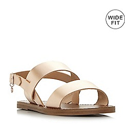 Dune - Rose leather 'Wf lowwpez' wide fit sandals