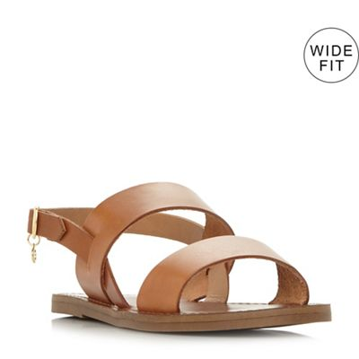 Dune - Tan leather 'Wf lowwpez' wide fit sandals
