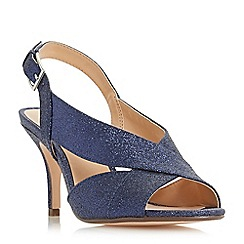 Roland Cartier - Navy 'Matilda' mid stiletto heel ankle strap sandals