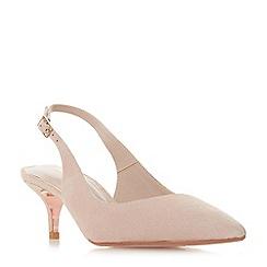 Dune - Light pink suede 'Wf casandraa' mid kitten heel wide fit court shoes