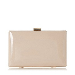 Dune - Natural 'Brocco' gold trim clutch bag