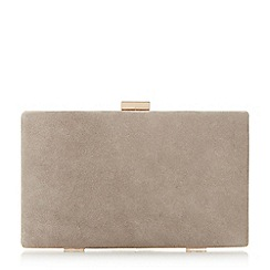 Dune - Taupe 'Brocco' gold trim clutch bag
