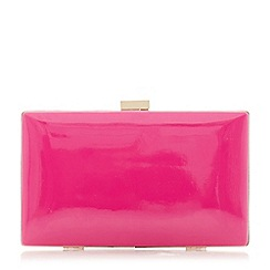 Dune - Bright pink 'Brocco' gold trim clutch bag