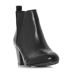 Dune - Black leather 'Pamella' mid block heel ankle boots