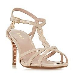 Dune - Natural 'Wf mystick' mid stiletto heel wide fit ankle strap sandals