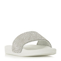 Dune - White leather 'Lipstick' mule slippers