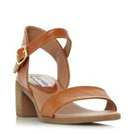 Steve Madden - Tan 'April' mid block heel ankle strap sandals