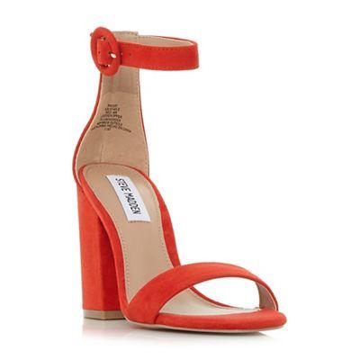 Steve Madden - Red suede 'Friday' mid block heel ankle strap sandals