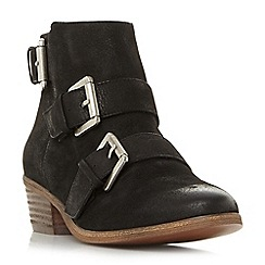 Steve Madden - Black leather 'Straps' mid block heel ankle boots