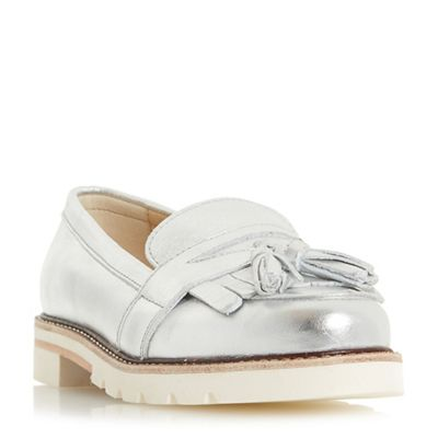 Dune - Silver leather 'Gennaa' loafers