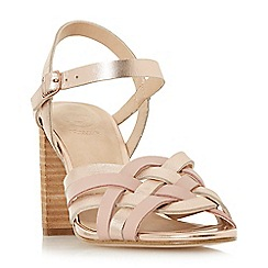 Dune - Rose leather 'Immigen' mid block heel ankle strap sandals