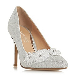 Head Over Heels by Dune - Silver 'Ayria' high stiletto heel court shoes