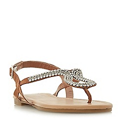 Head Over Heels by Dune - Tan 'kimmba' ankle strap sandals
