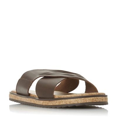 Bertie - Brown 'Iric' wide cross over strap sandals