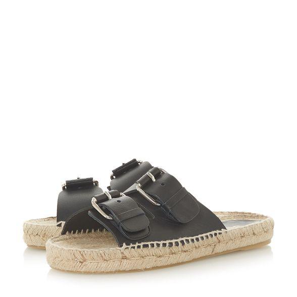 'Luso' Black leather slippers Dune Black mule CZq77a