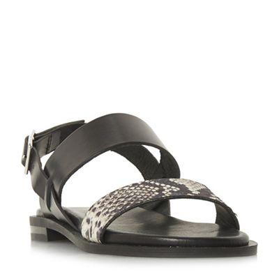 Dune Black - Black leather sandals 'Leorra' ankle strap sandals leather ac344c