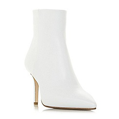 Dune Black - White leather 'Oconnor' high stiletto heel ankle boots
