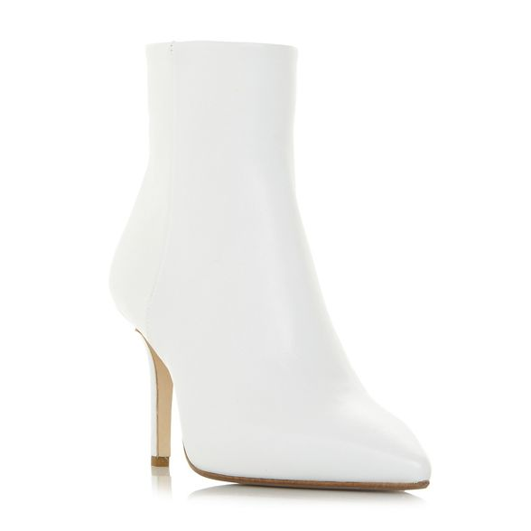 'Oconnor' heel stiletto high White leather ankle boots Black Dune Owx4PqHtn