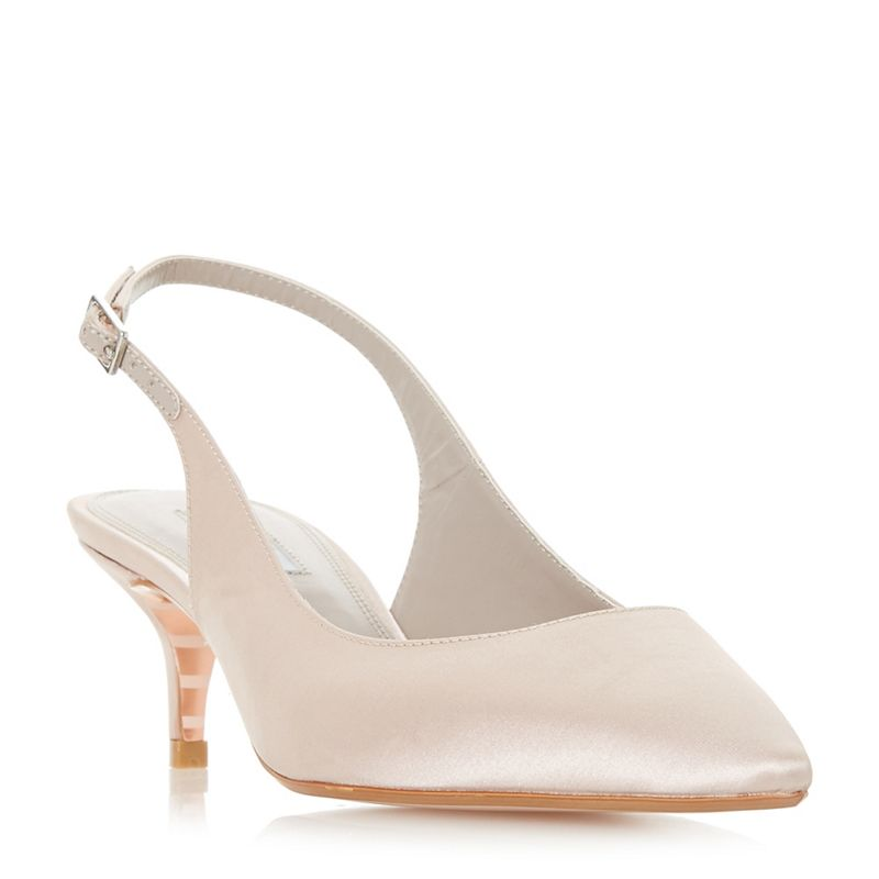 Dune - Taupe Crystal Mid Kitten Heel Court Shoes