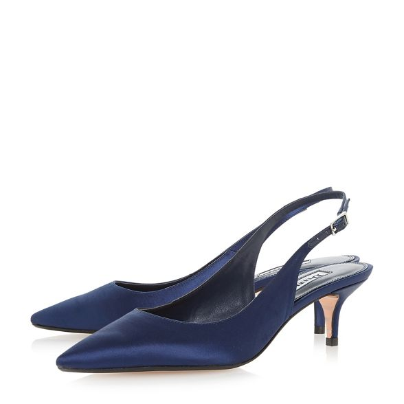 Dune mid court Navy kitten heel shoes 'Crystal' rBETrqw6vx