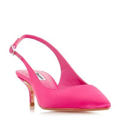 Dune - Bright pink 'Crystal' mid kitten heel court shoes