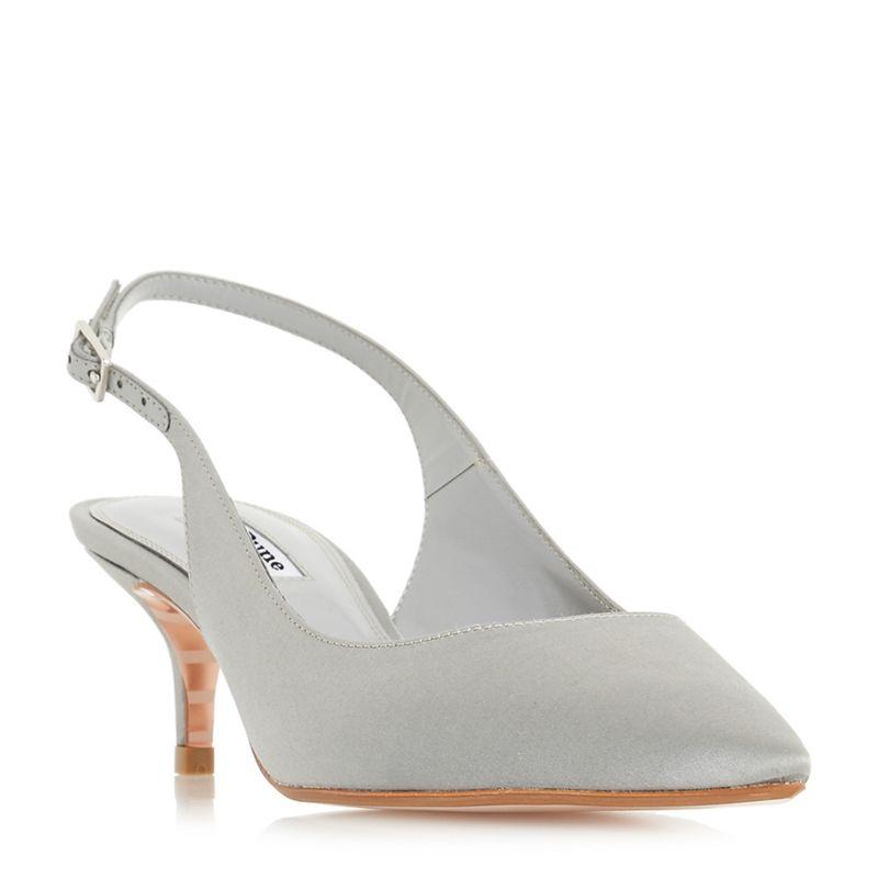 Dune - Light Grey Crystal Mid Kitten Heel Court Shoes