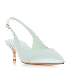 Dune - Light green 'Crystal' mid kitten heel court shoes
