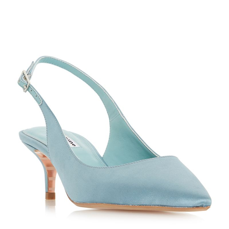 Dune - Pale_Blue Crystal Mid Kitten Heel Court Shoes