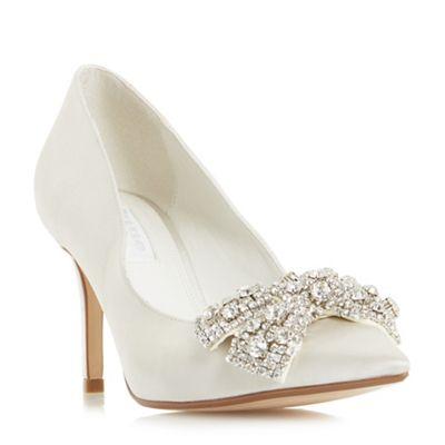 Dune - Ivory satin 'Beaubellee' mid stiletto heel court shoes