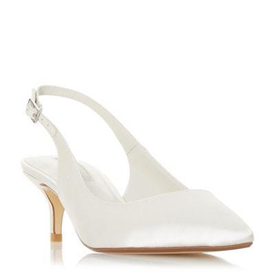 Dune - Ivory satin 'Casandraa' mid kitten heel court shoes
