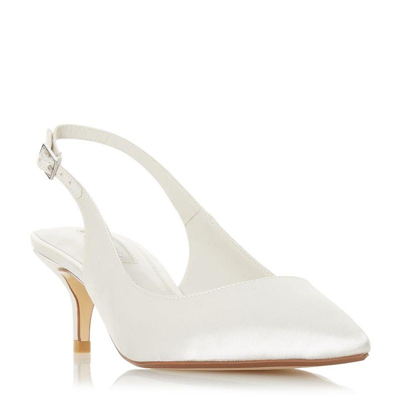 Dune - Ivory Satin Casandraa Mid Kitten Heel Court Shoes