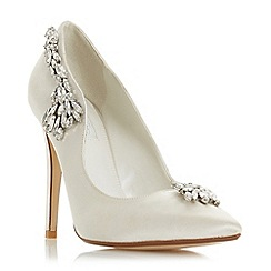 Dune - Ivory satin 'Bestowedd' high stiletto heel court shoes