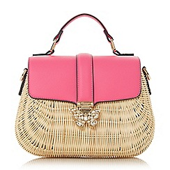 Dune - Pink 'Daker' butterfly detail straw bag